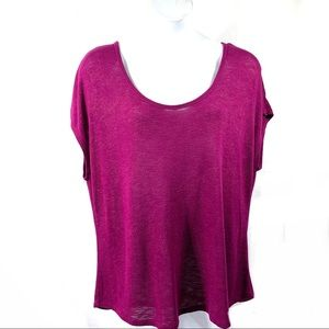 a.n.a. Knit Pullover Top Sz 3X Scoop Neck Purple